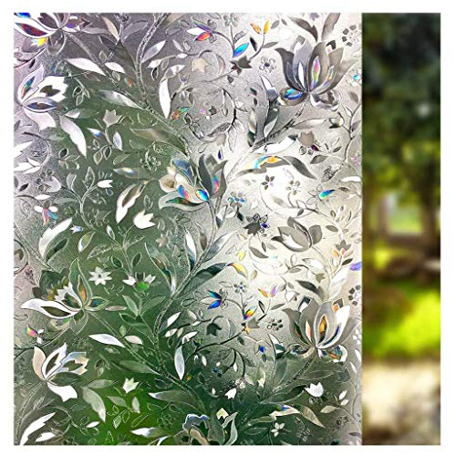 MOSU Window Privacy Film,Glass Film Non-Stick Static Cling Frosted Window Film Heat Control Sun Blocking Anti UV for Living Room Bedroom Office Meeting Room-tulip-45x100Cm(18x39Inch)