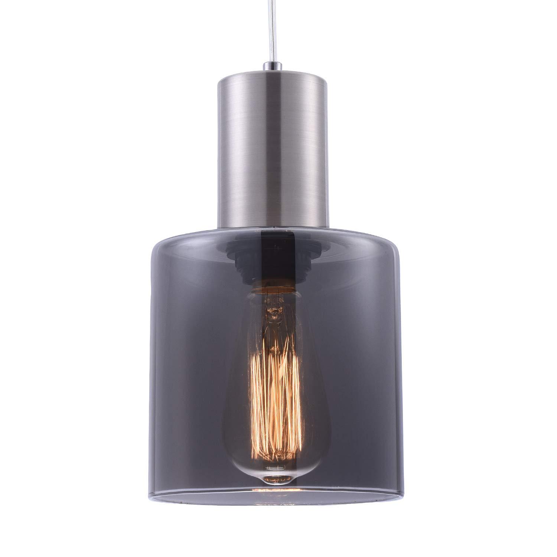 Modern Kitchen Light Fixture Smoky Gray Glass Shade Hanging Lamp, Adjustable Vintage Cylinder Mini Pendant Lighting for Kitchen Island Dining Room Bar,Brushed Nickel Finish