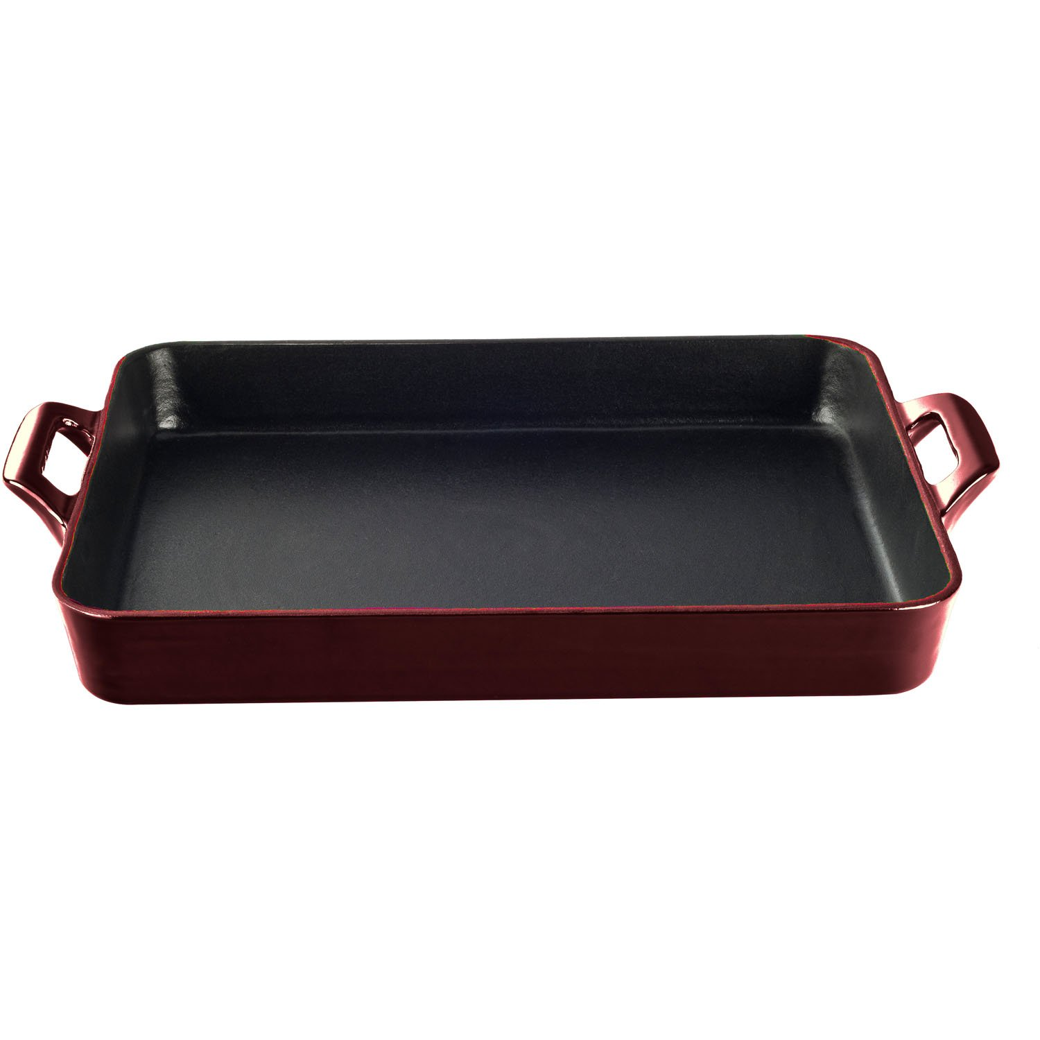 La Cuisine LC 8100 1 Piece Shallow Cast Iron Roasting Pan withエナメル仕上げ Shallow レッド LC 8105 B01LZNW39K ルビー ルビー