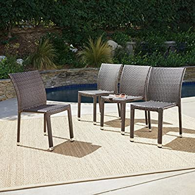Dorside Outdoor Multibrown Wicker Armless Stacking Chairs with an Aluminum Frame (Set of 4)