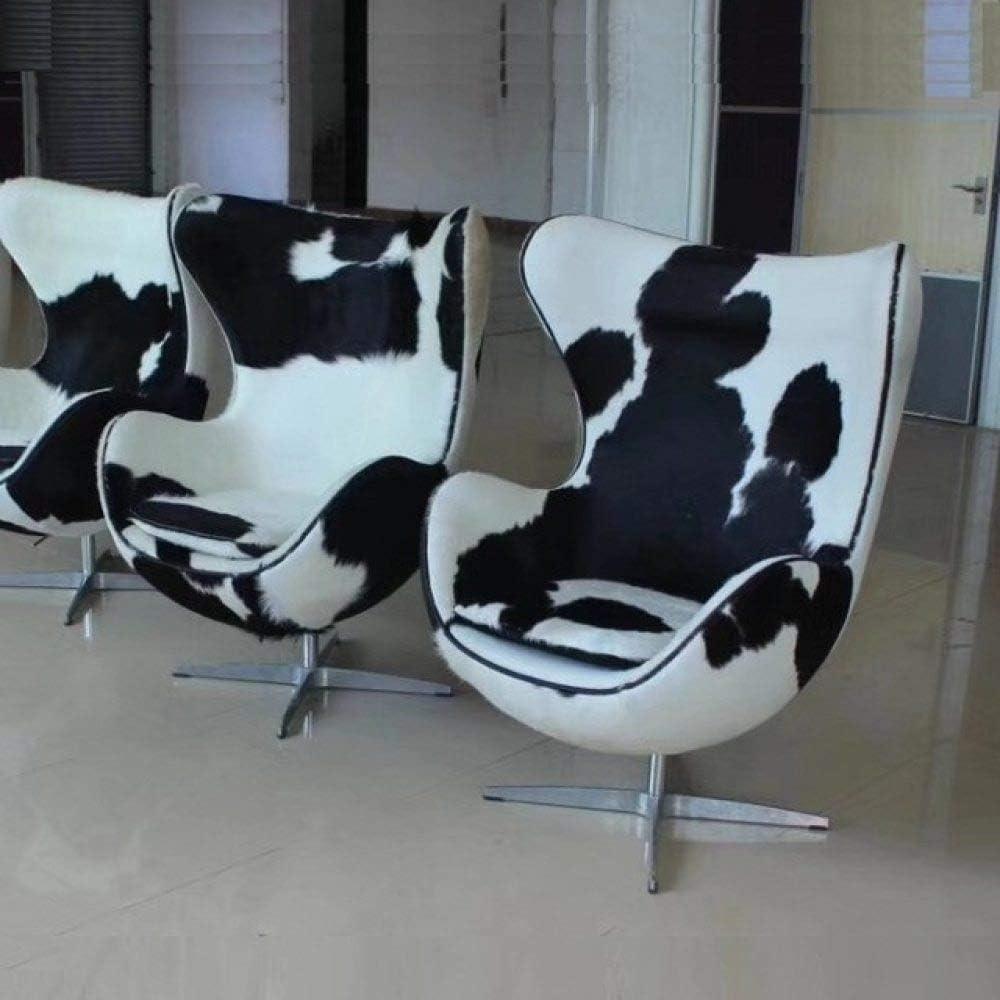 LKU Silla Silla de Ocio de Cuero de Caballo Moderno de réplica de diseñador, Silla de salón de Sala de Modelo de Venta, Pony Blanco Negro