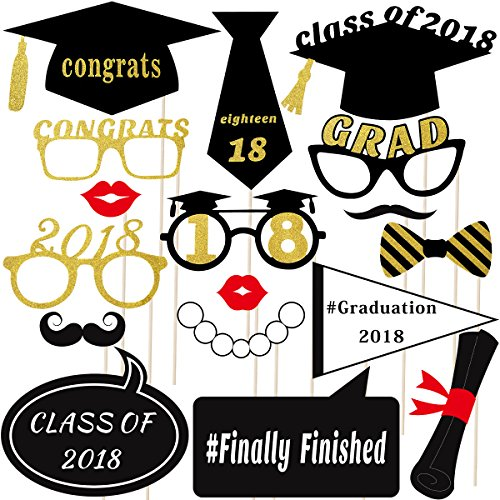Graduation Photo Props Glitter Graduation Phtoto Booth Props OULII 2018 Graduation Party Decorations Pack of 18