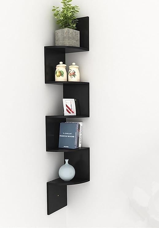 Busyall étagère Murale Angle Zigzag Avec 5 étagères De Rangement étagère Suspendue Moderne Coin Meuble Décoration Intérieure Pour Maison Bureau 195l