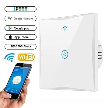 Wifi Smart Lichtschalter, MAMYOK WLAN In-Wall gehärtetes Glas ...