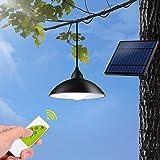 Solar Pendant Light, Tomshin-e Solar Light Outdoor IP65 Waterproof Barn Lights with Remote Control, Brightness Adjustment Sol