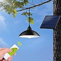 Solar Pendant Light, Tomshin-e Solar Light Outdoor IP65 Waterproof Barn Lights with Remote Control, Brightness…