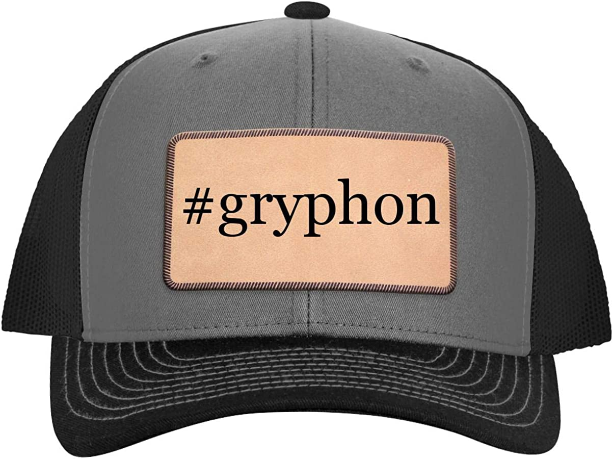 #Gryphon - Leather Hashtag Light Brown Patch Engraved Trucker Hat