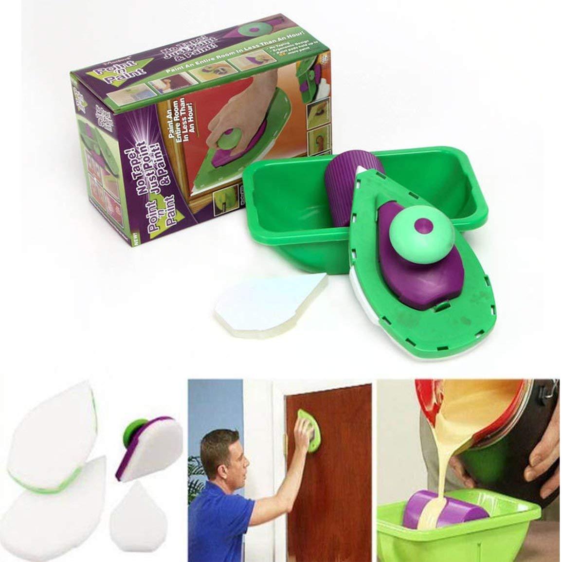 colore: verde 9 pz//set multifunzione rullo di vernice vassoio spugna pad maniglie tubi kit casa diy pittura murale pennello strumenti decorativi