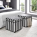 Inspired Home Harrison Velvet Cube Storage Ottoman - Castered Legs | Black & White Stripes | Modern and Contemporary