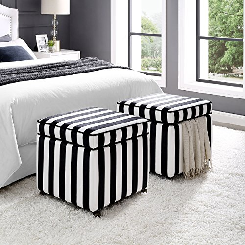 Inspired Home Harrison Velvet Cube Storage Ottoman - Castered Legs | Black & White Stripes | Modern and Contemporary by Inspired Home