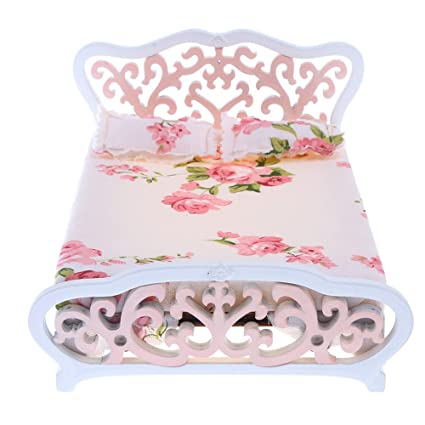 Iraintech Pink Double Bed 1:12 Scale Dollhouse Miniature Wooden Bedroom Dolls  House Furniture