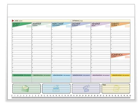 Calendario 2020 Settimanale Da Stampare.Kukk Planning Settimanale Da Tavolo Planner Scrivania 43 X 31 Cm 52 Fogli A Strappo Non Collati Senza Data Perpetuo