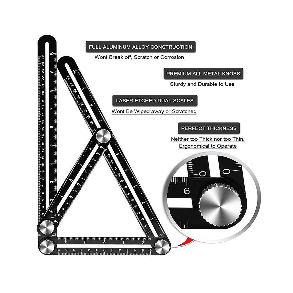 Multi-function Ruler, KeepTpeeK Angle Ruler Metal Angleizer Template Tool Full Metal Measuring Rules Layout Tool for Handymen Builders DIY Carpenters Craftsmen (10in+5in)