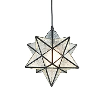 Yobo Lighting Moravian Star Textured Glass Pendant Lamp 1 Light, 12 In by Yobo Lighting