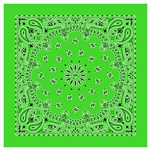 100% Cotton Western Paisley Bandanas (22 inch x 22 inch) Made in USA - Lime Green Dozen Packed 22x22 - Use For Handkerchief, Headband, Cowboy Party, Wristband, Head Scarf - Double Sided Print -