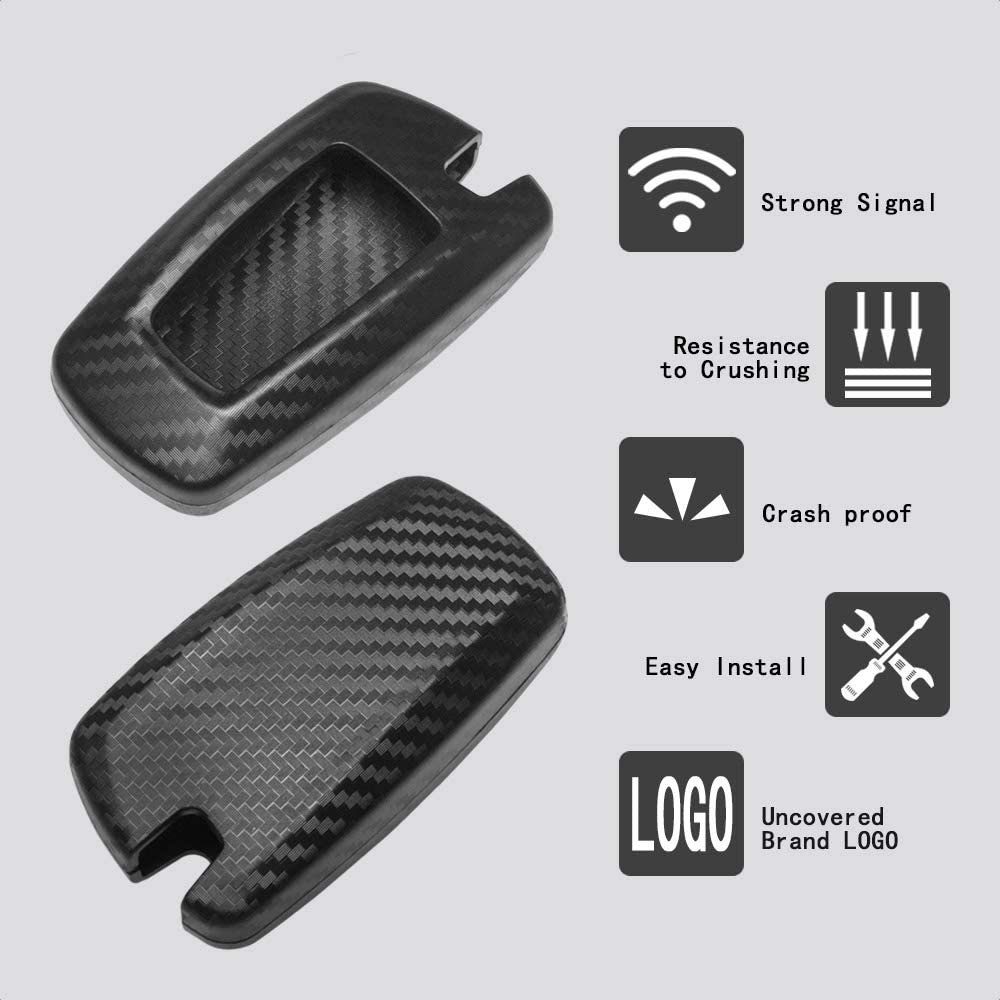 TANGSEN Smart Key Fob Personalized Case Protective Cover for BMW 1 3 4 5 6 7 Series GT3 GT5 M5 M6 X3 X4 3 4 Button Keyless Entry Remote 3D Twill Weave Carbon Fiber ABS Plastic Emboss