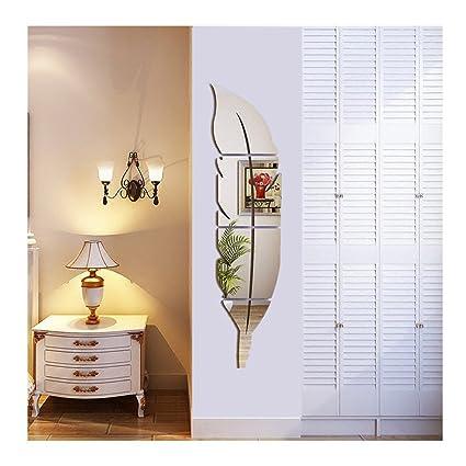 Syclecircle Brillante Pluma Espejo de Pared, 3D Espejo Decorativo Moderno Arte de Pared Desprendible para