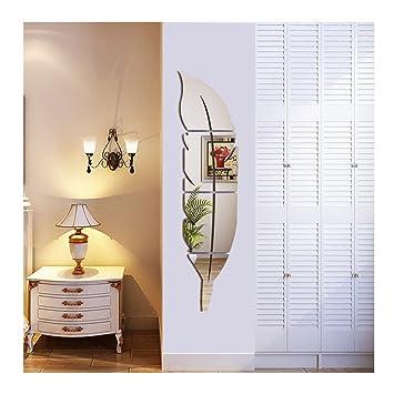 Helle Feder Wandaufkleber Spiegel, 3D Moderne Dekorative Spiegel  Entfernbare Wandkunst Für Wohnzimmer Schlafzimmer Büro Dekoration