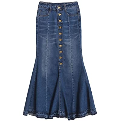 ainr Womens High Waisted Single-Breasted Cotton Washing Slim Elasticity Classic Mermaid Denim Skirt