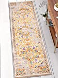 Vintage Heriz Floral Medallion Traditional Multi Color Beige Fuscia Orange Yellow 2x7 (2'3'' x 7'3'' Runner) Area Rug
