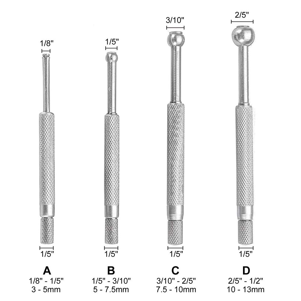 4 Pieces 1//8 Inch-1//2 Inch Full Ball Telescopic Small Hole Bore Precision Gauge