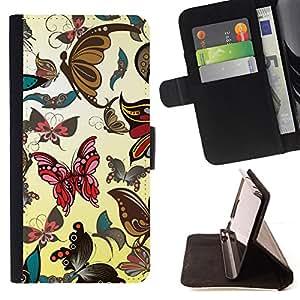 BullDog Case - FOR/Sony Xperia Z3 D6603 / - / butterflies bugs art wallpaper colorful art /- Monedero de cuero de la PU Llevar cubierta de la caja con el ID Credit Card Slots Flip funda de cuer