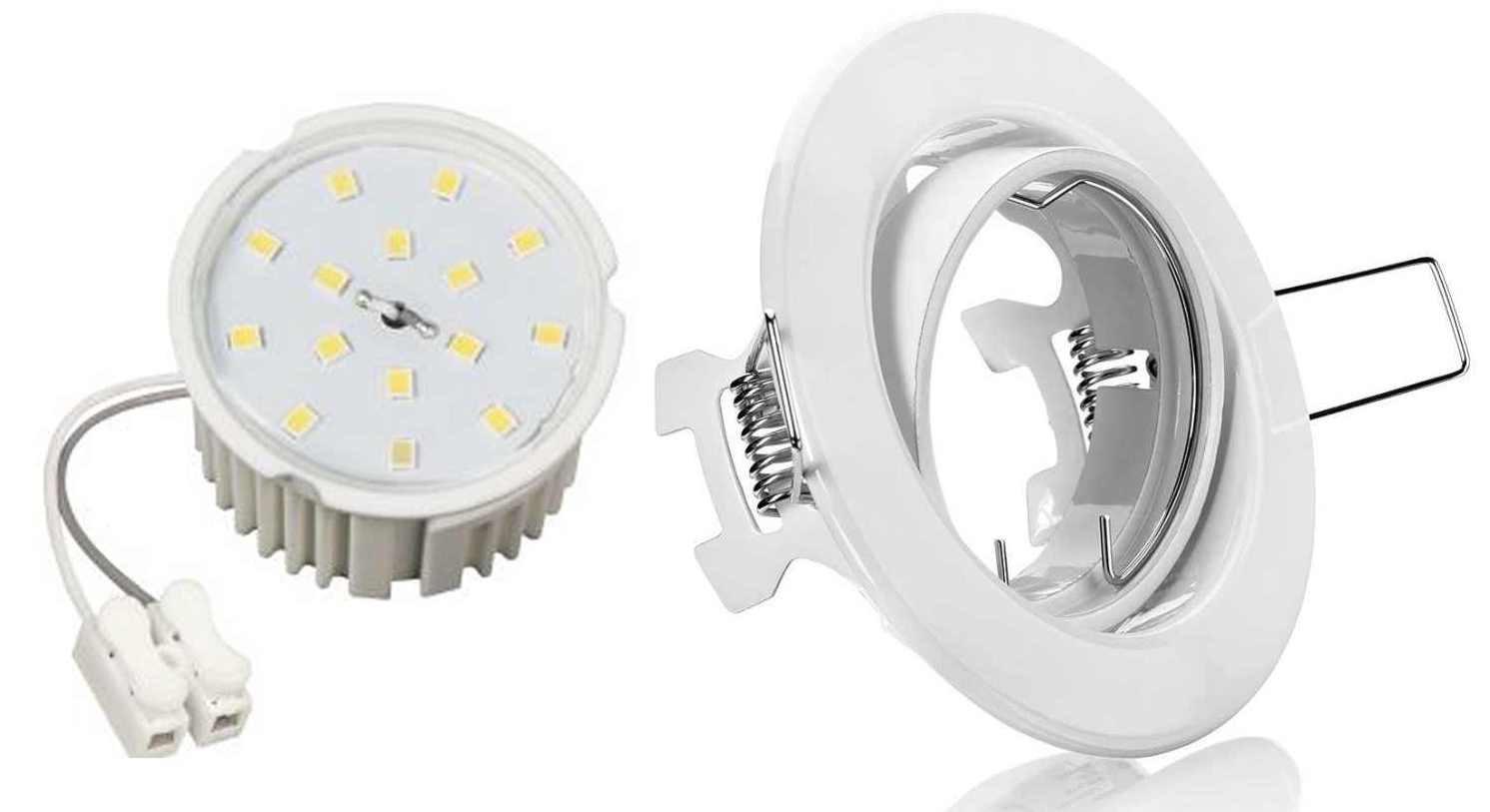 8 x Flache Led Einbauspot Lampe Weiß 230 Volt mit Led Modul 3step dimmbar 110° 50 x 33mm warmweiss 7Watt 510Lumen 230Volt