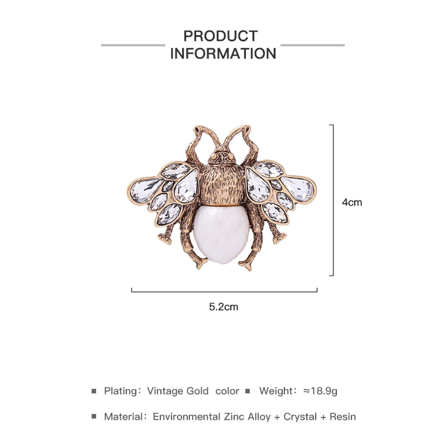 Baolustre Cute Clear Crystal Imitation Pearl Insect Bee Brooches Charming Alloy Vintage Brooch Pink,Antique Gold Plated