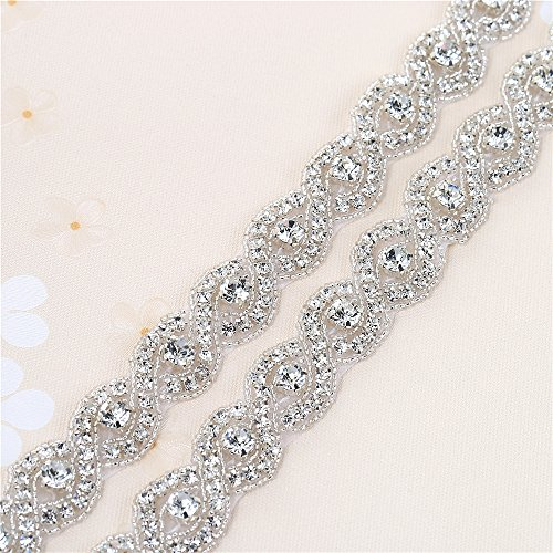 Beaded Bridal Trim - Bridal Beaded Crystal Trim Rhinestone Wedding Dress Sash Belt Applique Trimming 1 Yard Sew on Hot Fix Iron on for Bridesmaid Gown Womens Prom Formal Waist Belt with Jeweled Embellishments