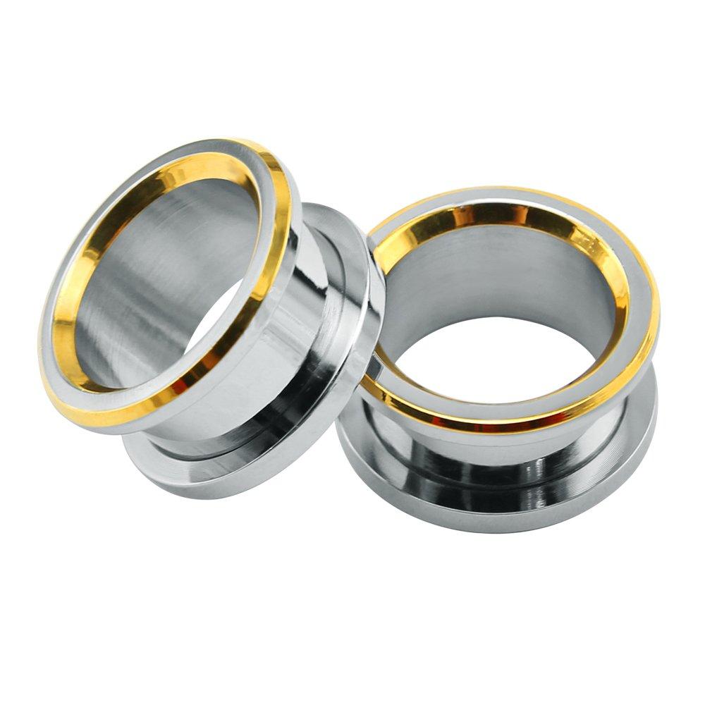 ZeSen Jewelry Acero Inoxidable 316L 2 joyería BISELADAS Carne del oído del túnel del oído del Enchufe de medidores expansores del Cuerpo (2) Gauge=0 g (8 ...