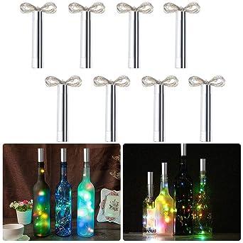Anpro 8 X 20 Bunt Led Flaschenlicht Lichterkette 2m Bunt Led