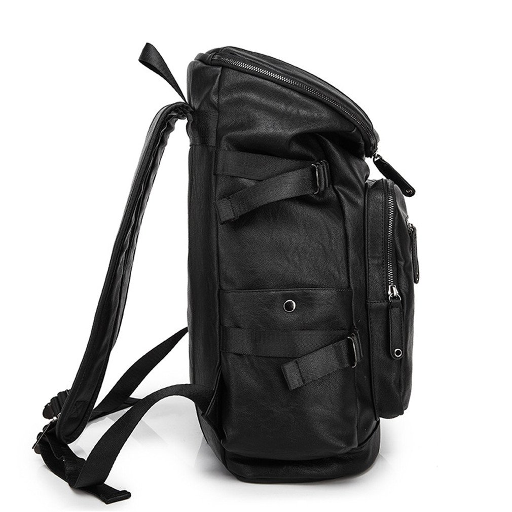 845a52c9a1c5 Amazon.com  UKXMNC Men Pu Leather Backpack Youth Travel Rucksack School  Book Bag Male Laptop Business Bagpack Shoulder Bag Daypacks black 15  Inches  Sports ...
