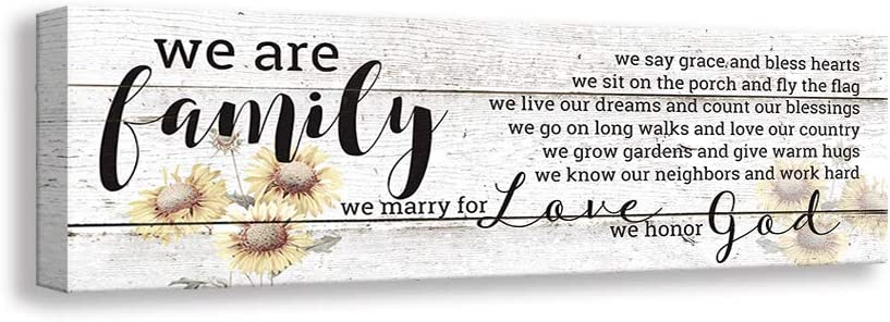 Kas Home Family Sign Wall Decorations for Living Room Inspirational Wall Art Motto Canvas Prints, Framed Home Decor Wood Grain Background HD Vintage Plaque Wall Decor (Family,5.5 X 16.5 inch)