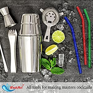 4 Colorful WashMe Glass Drinking Straws with Cleaning Brush: Eco-Friendly, Ergonomically Bent, BPA-Free & Reusable: Rust-Proof, Scratch-Proof, & Dishwasher Safe: Odor-free Experience at Home or bar
