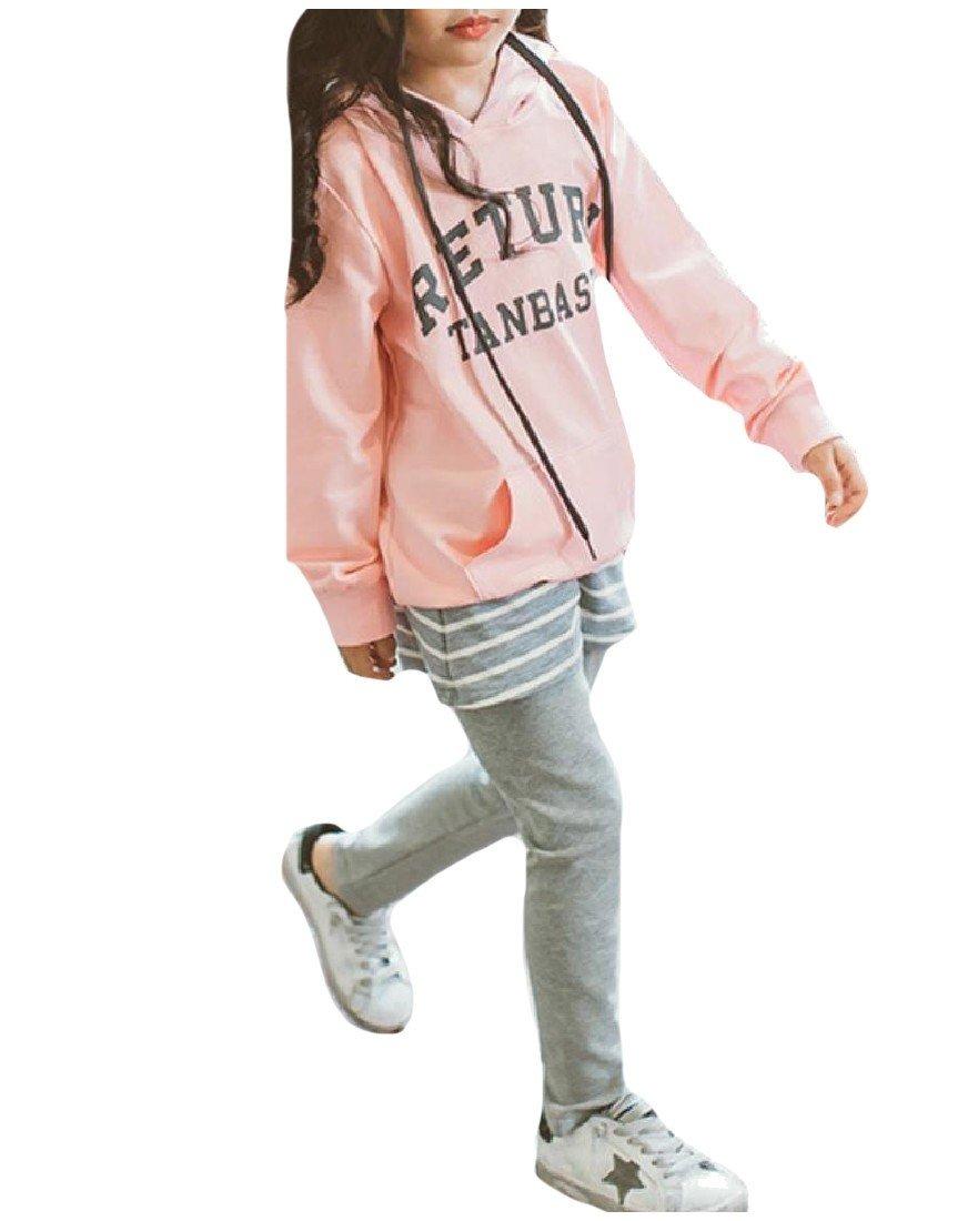 Tootless Big Girls Fine Cotton Letter 2 Piece Hoodie+ Pant Set Leggings Pink 150