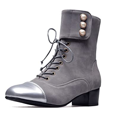 SHOWHOW Damen Retro Ohne Verschluss Stiefelette Kurzschaft Stiefel Grau 37 EU ZxI3Mc