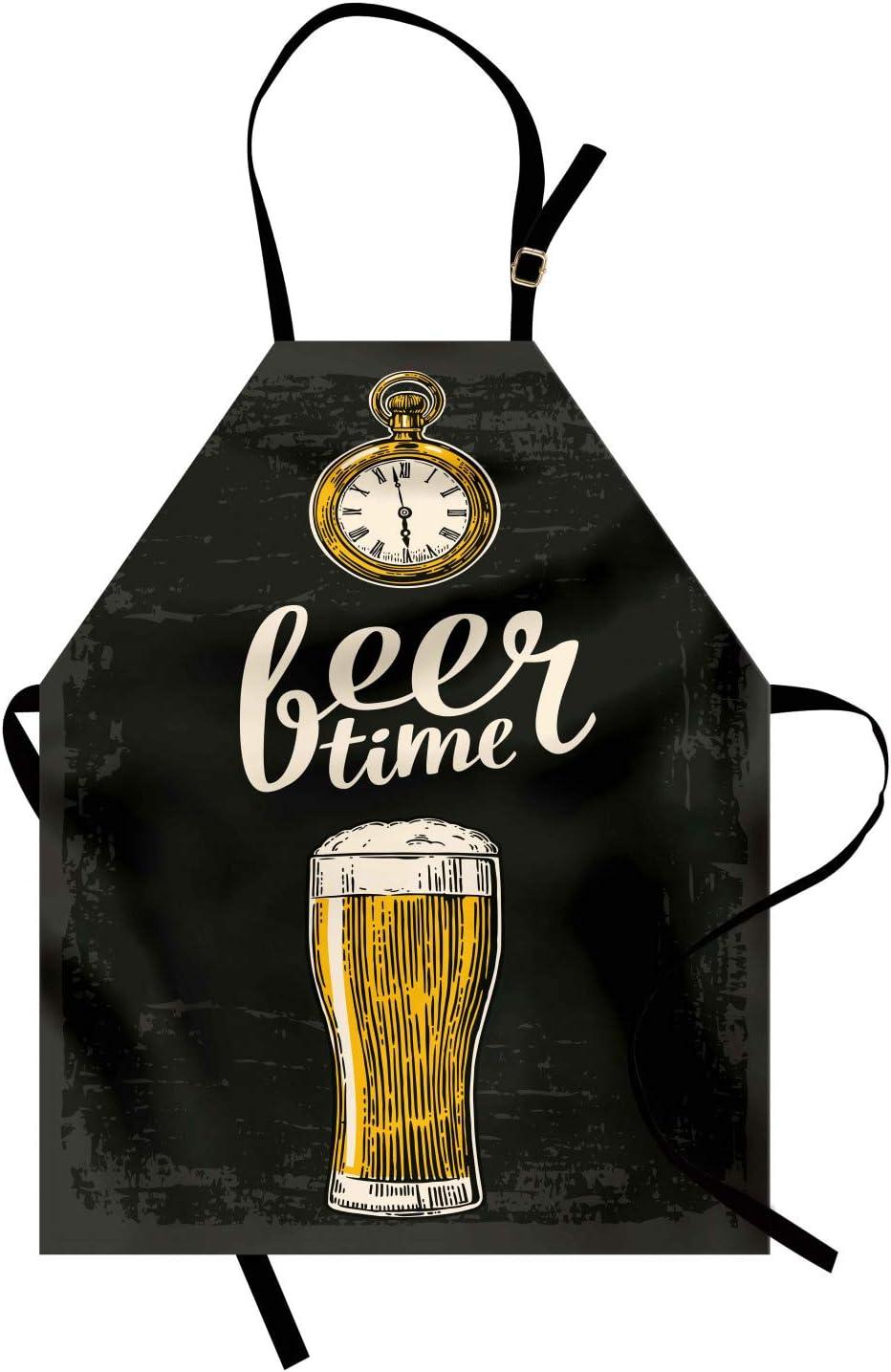 ABAKUHAUS Moderno Delantal de Cocina, Hora de Cerveza Tipografía Vaso Antiguo Estilo de Vida Ilustración, Lavable Largo Ajustable Colores Nítidos Durables, Verde Oscuro