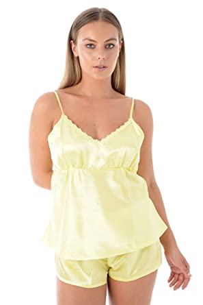 151a04caef Ladies 3 Piece Satin Pyjama Set Womens Vest Lace Shorts PJ s Nightwear  (Large 18