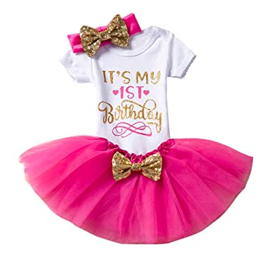 b2fa75f5 YUAN Toddler Baby Birthday Letter Romper Tops+Dance Tutu Skirt+Bowknot Mesh  Ball Gown Headbands Set Pink,red,Purple,Hot Pink: Amazon.co.uk: Clothing