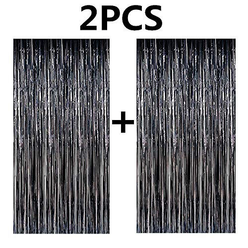 FECEDY 2pcs 3ft x 8ft Black Metallic Tinsel Foil Fringe Curtains Photo Booth Props for Birthday Wedding Engagement Bridal Shower Baby Shower Bachelorette Holiday Celebration Party Decorations]()
