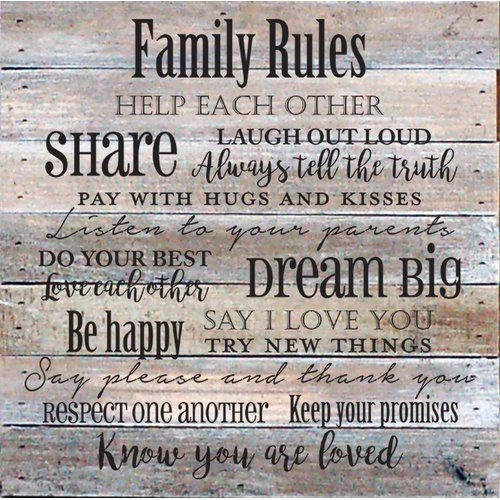 Winston Porter 'Family Rules' Textual Art on Wood in Cream from Unknown
