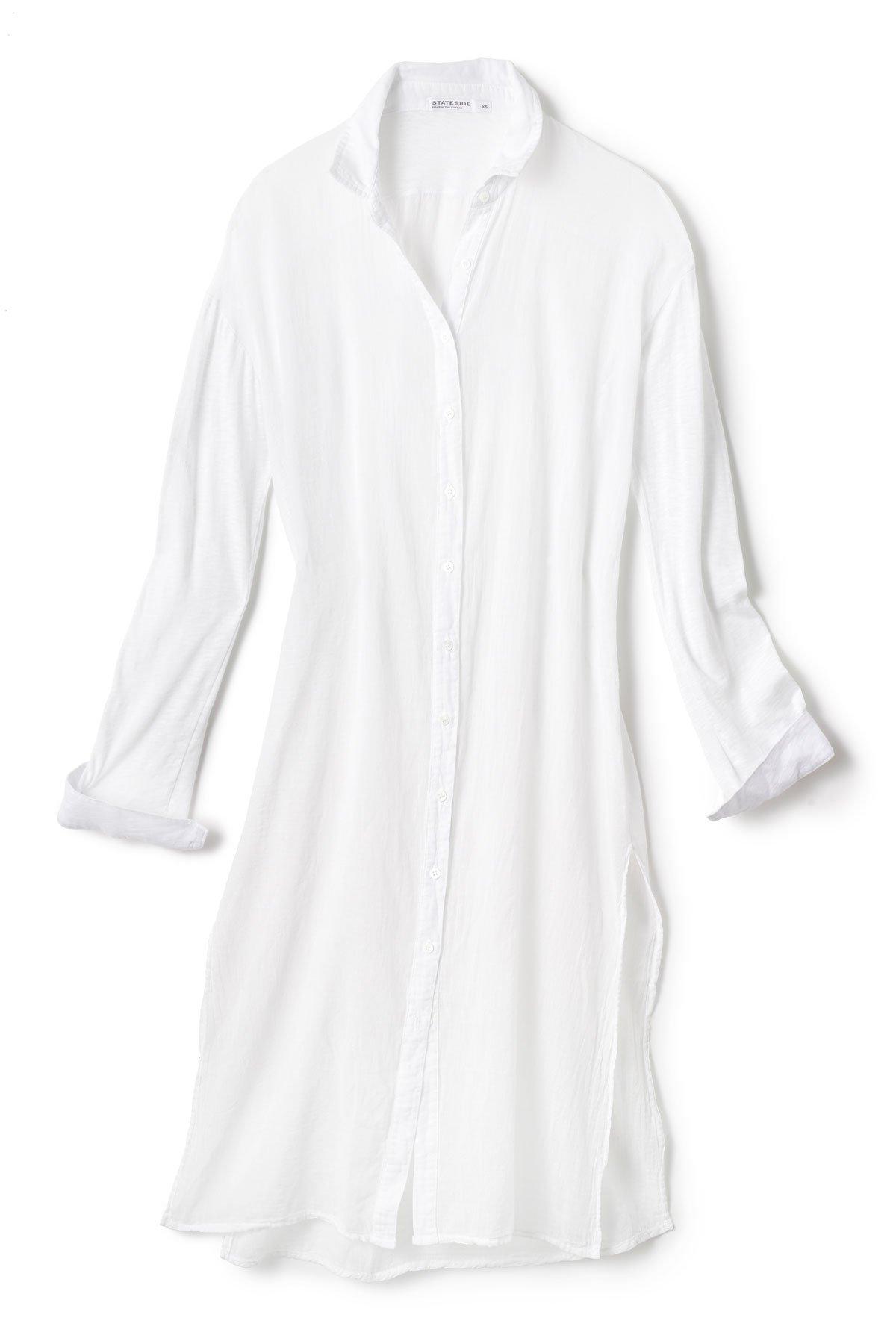 Stateside Women's Cottons Shirt Dress Swim Cover Up White M by Stateside (Image #4)