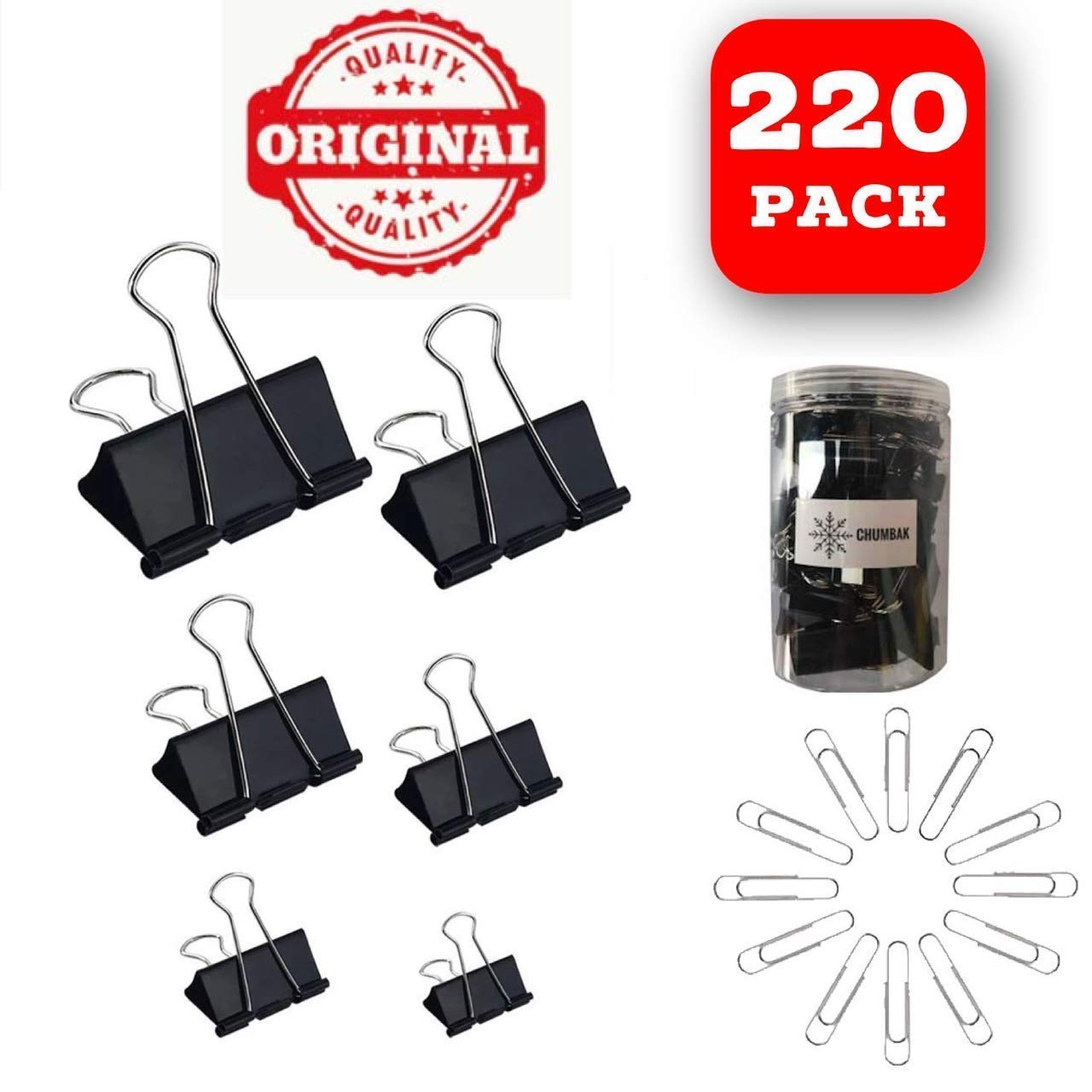 X Small and Micro Binder Clips 120 Small Black 100 and Paper Clips X Large Paper Clamps Binder Clips Assorted Sizes 120 Count Medium Large