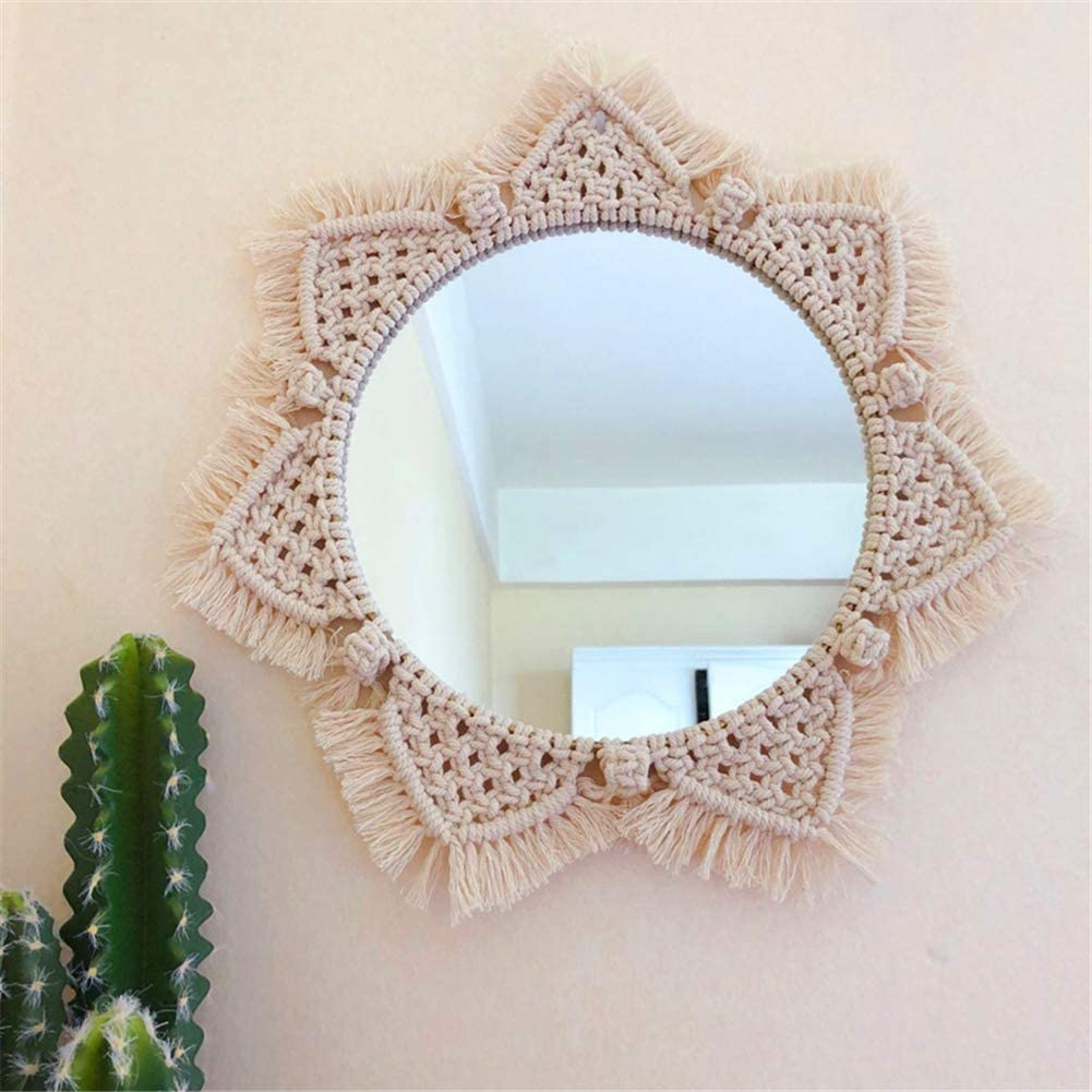 Hanging Wall Mirror with Macrame Fringe, Round Antique Mirror Frame Art, Bohemian Handmade Decor for Apartment Living Room Bedroom Baby Nursery Dorm Entryways Gift A