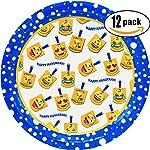 """Set of 12 Hanukkah Emoji Paper Plates - Measures 7"""" (17.8cm)"""