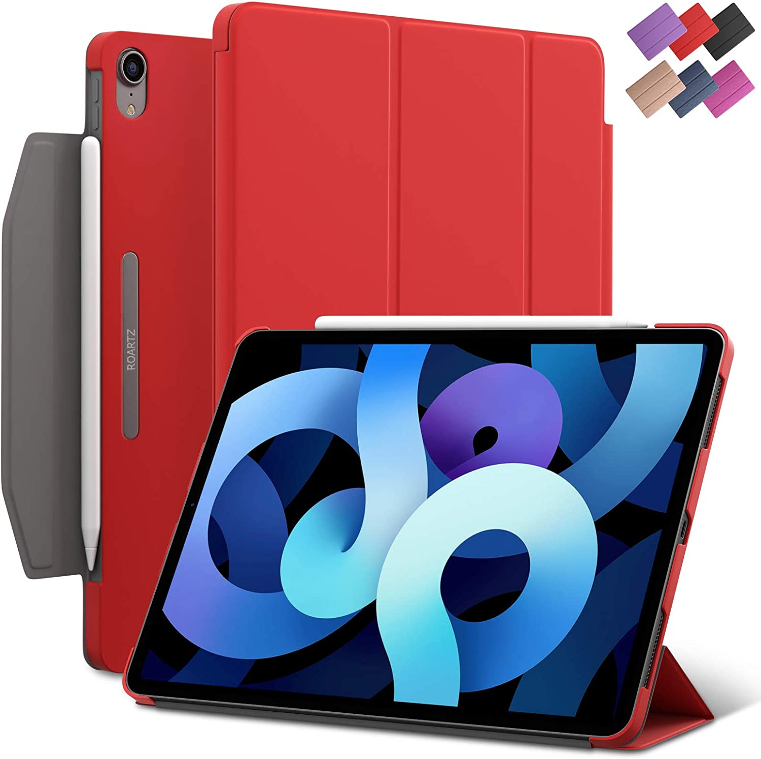 iPad Air 4 10.9-inch case, ROARTZ Red Slim Fit Smart Rubber Coated Folio Case Hard Cover Light-Weight Wake/Sleep Pencil Holder for Apple iPad Air 4th Generation 2020 Lastest Model