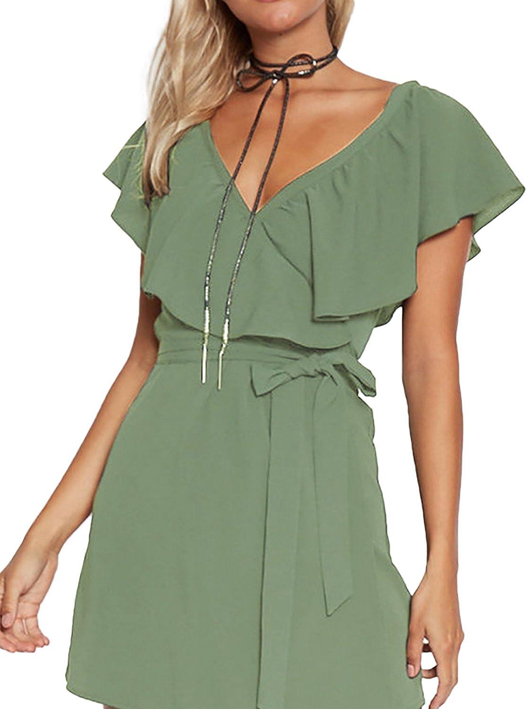 Yoins - Vestido de verano para mujer, corto, cuello en V, sin hombros, elegante, vestido de playa, minivestido de fiesta