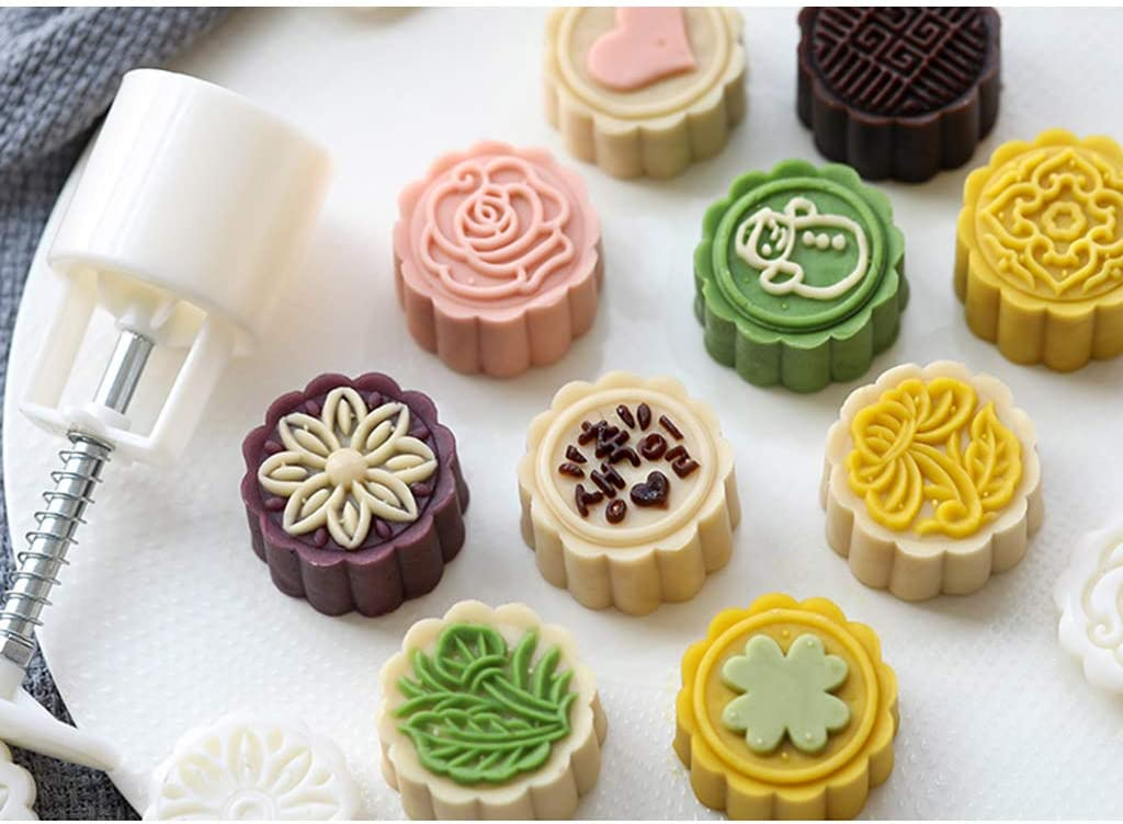 qingqingR 8pcs Hand Press Cookie Stamp Moon Cake Decor Mould Barrel Mooncake Mold 25g DIY