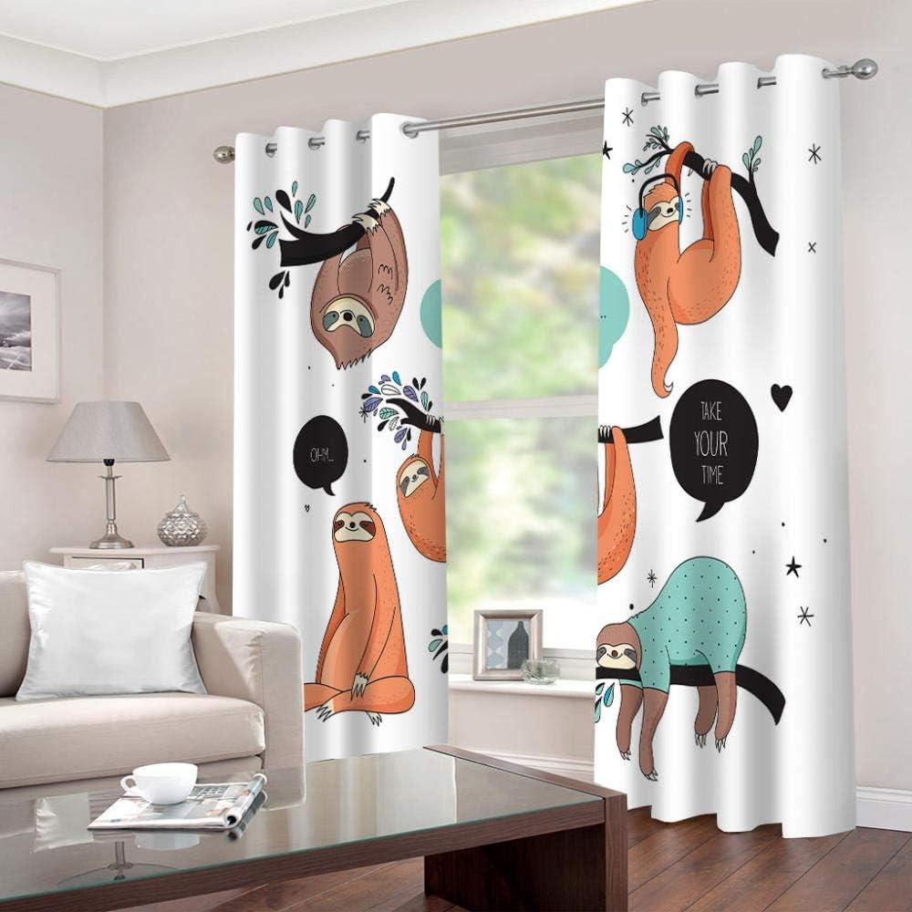 shkdif 3D Verdunkelungsvorhang Comic-Tiere,Verdunkelungsvorhang Schlafzimmer Wohnzimmer Dekoration Isolierung L/ärmschutzvorh/änge 150Wx166H cm