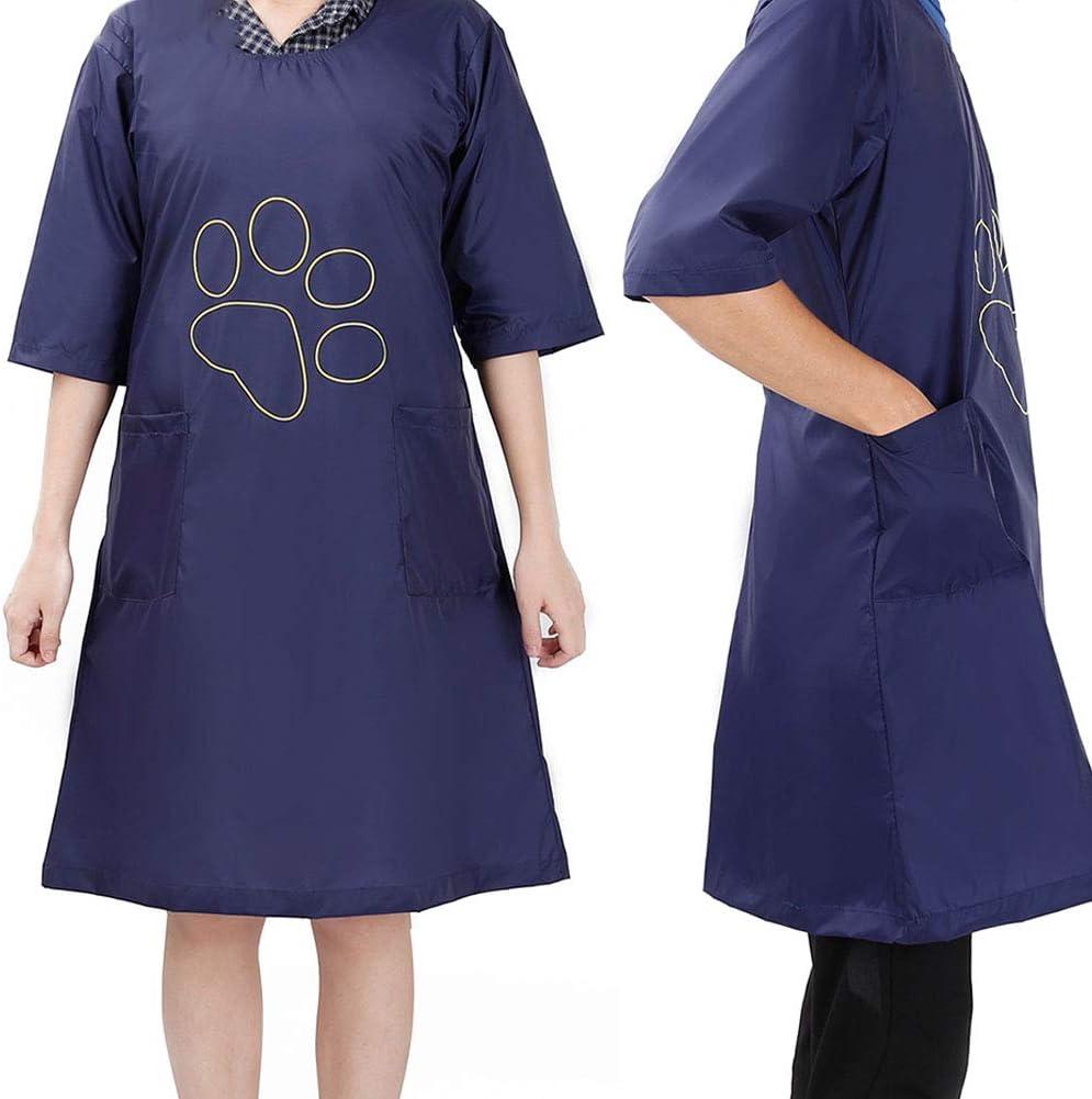 camisón con bolsillos de color azul con huella de mascota para peluquería canina